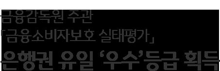 금융감독원 주관 「금융소비자보호 실태평가」 은행권 유일 '우수'등급 획득